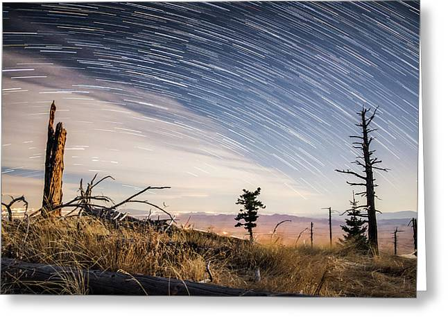 Star Trails Over Mt. Graham Greeting Card