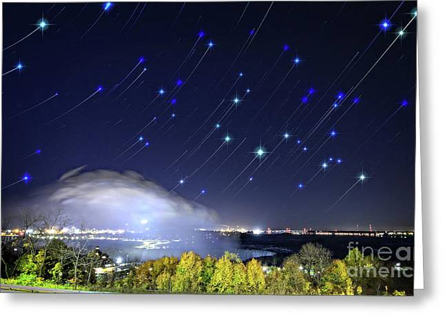Greeting Card featuring the photograph Star Trails Over Niagara River by Charline Xia