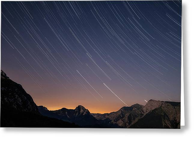 Star Trails Over The Apuan Alps Greeting Card