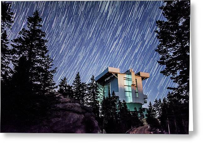 Star Trails Over The Large Binocular Telescope Greeting Card