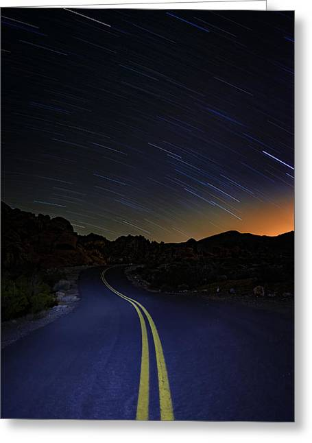 Star Trails Over Valley Of Fire Greeting Card by Rick Berk