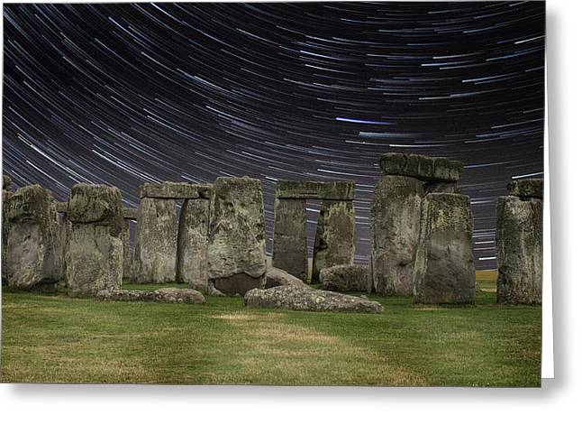 Star Trails Stonehenge Greeting Card