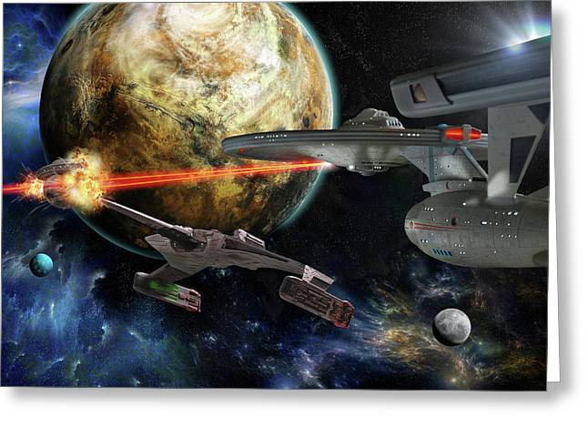 Star Trek Battle Greeting Card by Dan Richelieu