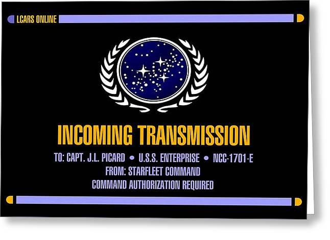 Star Trek Enterprise Incoming Transmission Screen                 Greeting Card