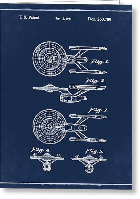 Star Trek Enterprise Patent Blue Greeting Card by Bill Cannon