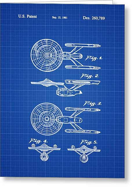 Star Trek Enterprise Patent Blue Print Greeting Card by Bill Cannon
