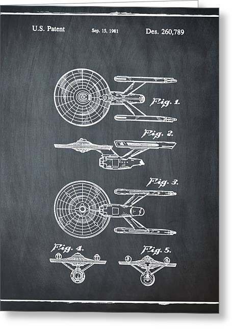 Star Trek Enterprise Patent Chalk Greeting Card by Bill Cannon