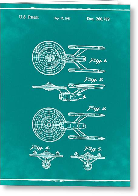 Star Trek Enterprise Patent Green Greeting Card by Bill Cannon