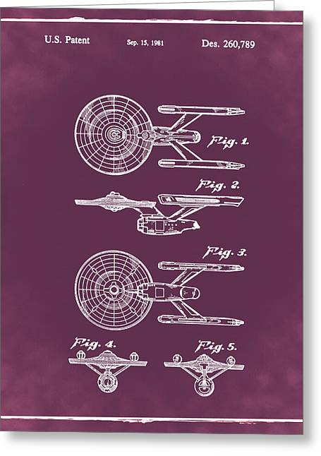 Star Trek Enterprise Patent Red Greeting Card by Bill Cannon
