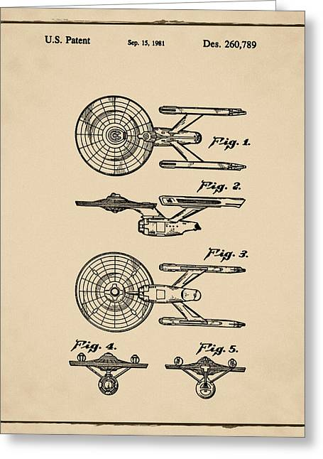 Star Trek Enterprise Patent Sepia Greeting Card by Bill Cannon