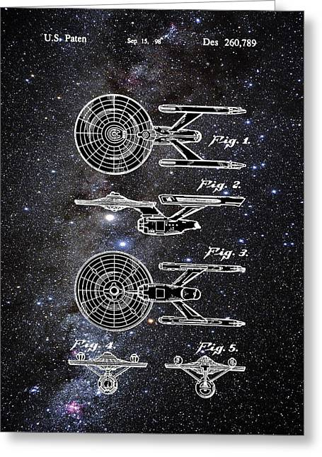 Star Trek Enterprise Patent Space Greeting Card by Bill Cannon