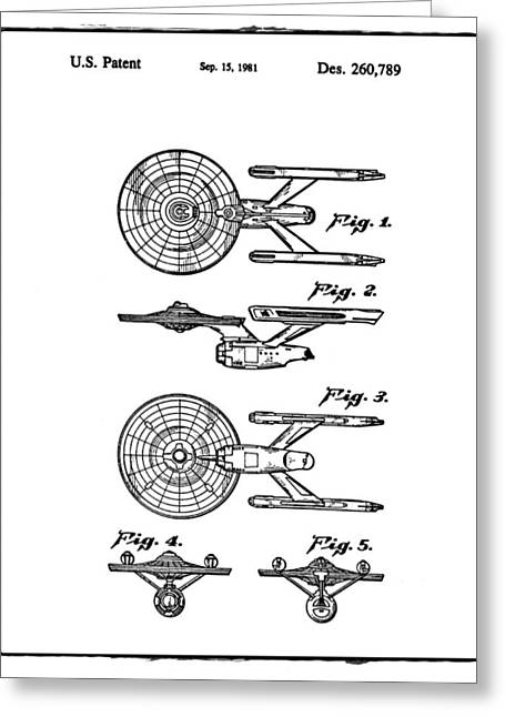 Star Trek Enterprise Patent White Greeting Card by Bill Cannon