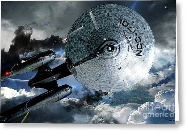 Star Trek Into Darkness, Original Mixed Media Greeting Card