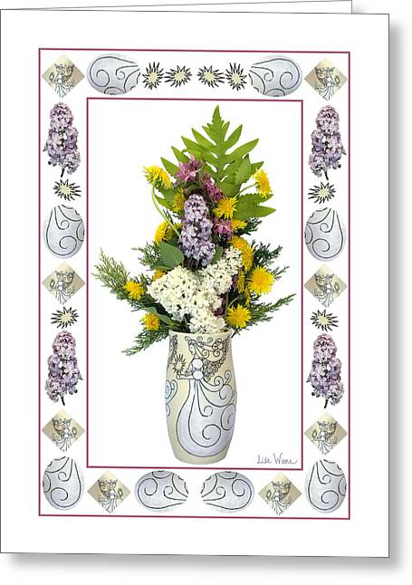 Star Vase With A Bouquet From Heaven Greeting Card by Lise Winne