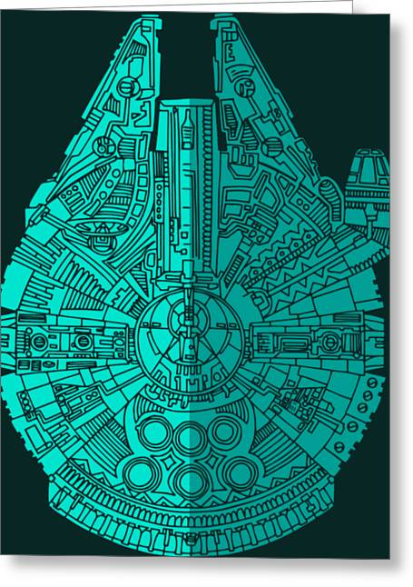 Star Wars Art - Millennium Falcon - Blue 02 Greeting Card