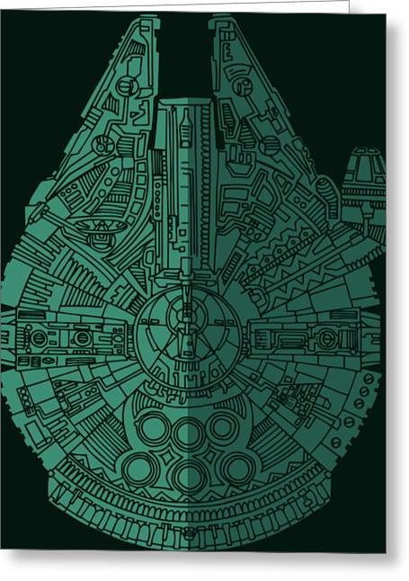 Star Wars Art - Millennium Falcon - Blue Green Greeting Card