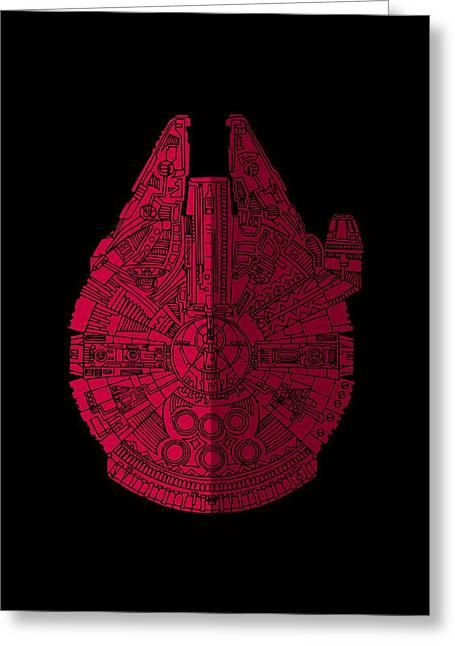 Star Wars Art - Millennium Falcon - Red, Black Greeting Card