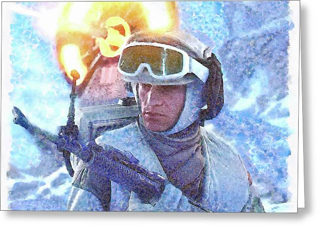 Star Wars Battle Of Hoth - Watercolor Over Paper Greeting Card by Leonardo Digenio