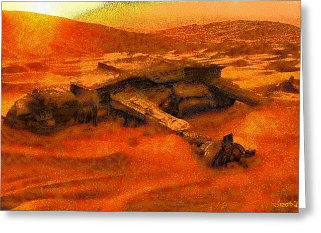 Star Wars Dead In The Desert - Da Greeting Card by Leonardo Digenio