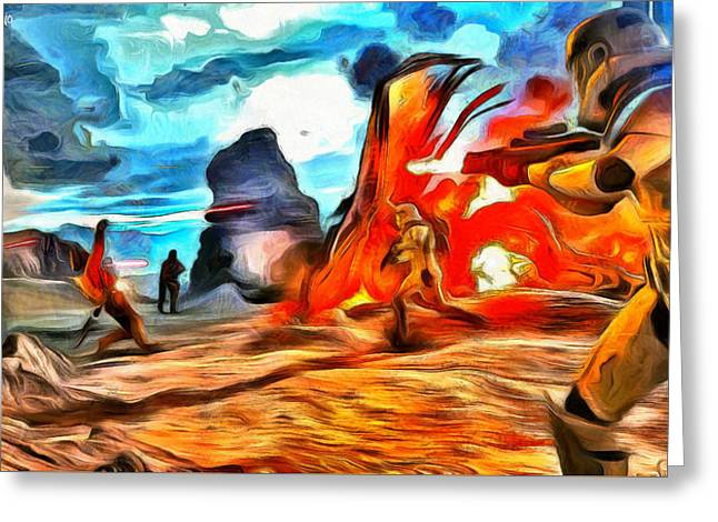Star Wars Fighters At Battlefield - Da Greeting Card by Leonardo Digenio