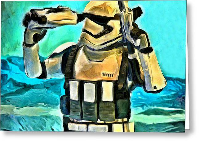 Star Wars First Order Stormtrooper - Da Greeting Card by Leonardo Digenio