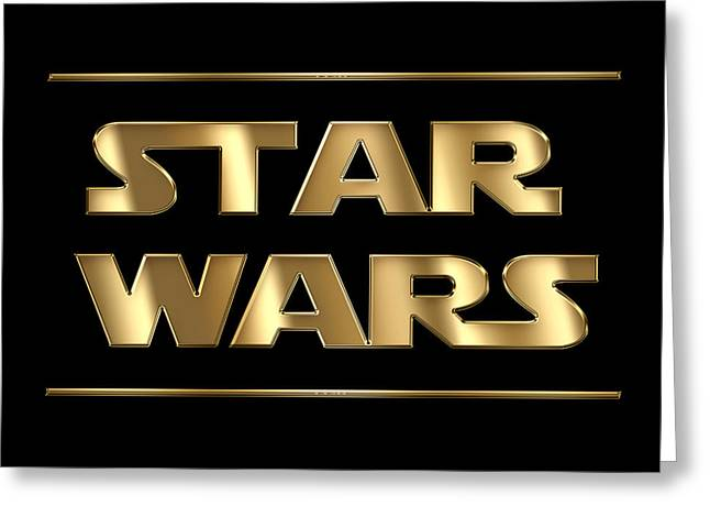 Star Wars Golden Typography On Black Greeting Card