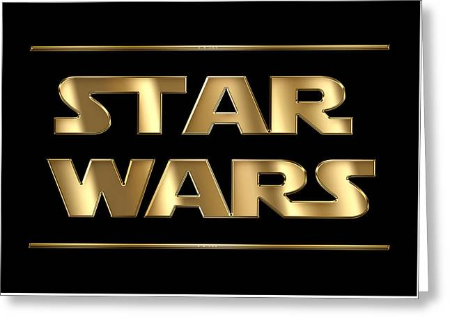 Star Wars Golden Typography On Black Greeting Card