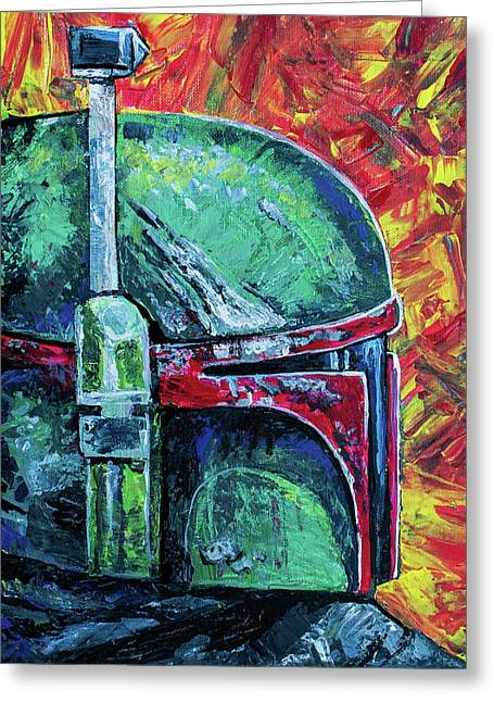 Greeting Card featuring the painting Star Wars Helmet Series - Boba Fett by Aaron Spong