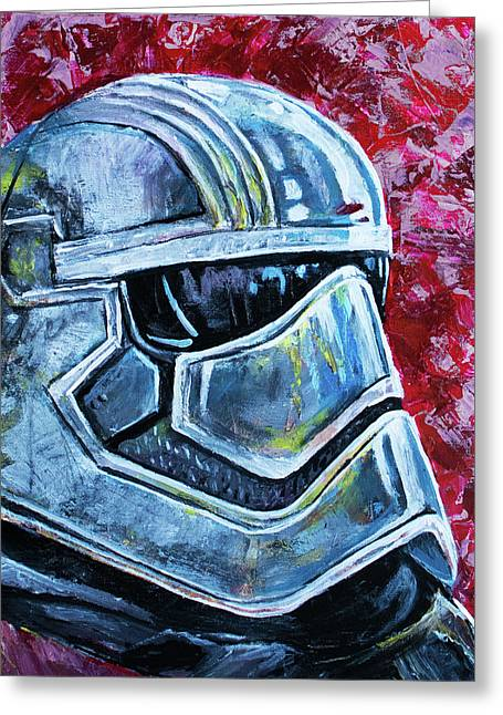 Greeting Card featuring the painting Star Wars Helmet Series - Captain Phasma by Aaron Spong