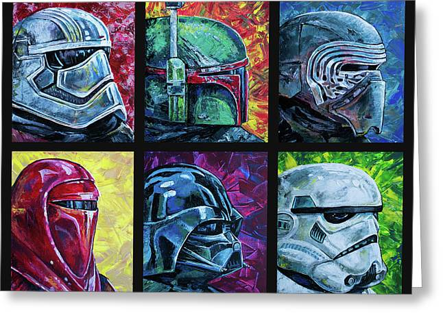 Greeting Card featuring the painting Star Wars Helmet Series - Collage by Aaron Spong