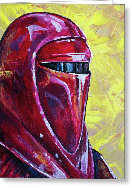 Greeting Card featuring the painting Star Wars Helmet Series - Imperial Guard by Aaron Spong