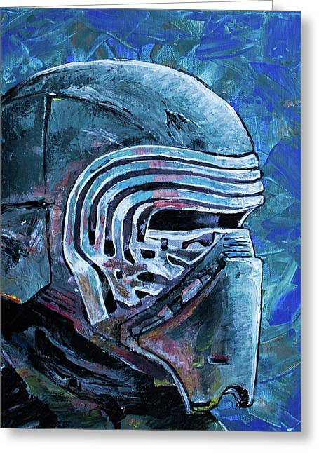 Greeting Card featuring the painting Star Wars Helmet Series - Kylo Ren by Aaron Spong