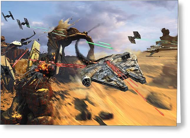 Star Wars Millennium Falcon Greeting Card
