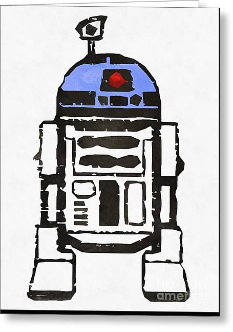 Star Wars R2d2 Droid Robot Greeting Card by Edward Fielding