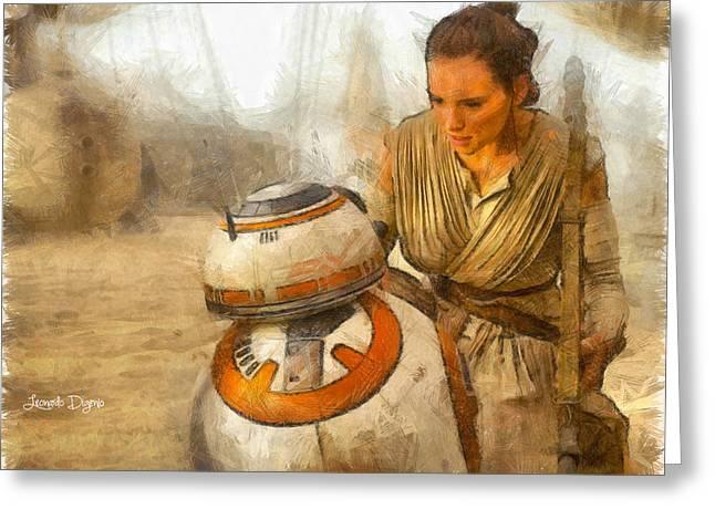 Star Wars Rey And Bb-8  - Pencil Style -  - Da Greeting Card by Leonardo Digenio