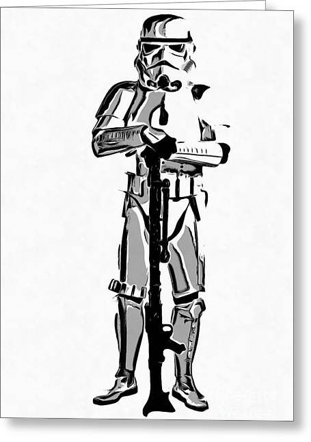 Star Wars Stormtrooper Graphic Novel Fan Art Drawing Greeting Card by Edward Fielding
