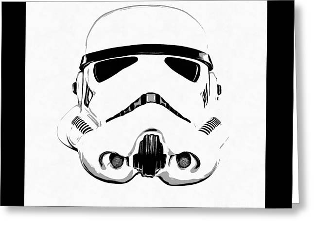 Star Wars Stormtrooper Helmet Graphic Drawing Greeting Card by Edward Fielding