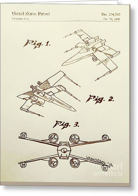 Star Wars X-wing 1980 Us Patent - Sepia Greeting Card