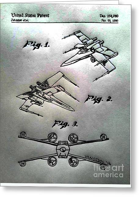 Star Wars X-wing 1980 Us Patent - Silver Abstract Greeting Card