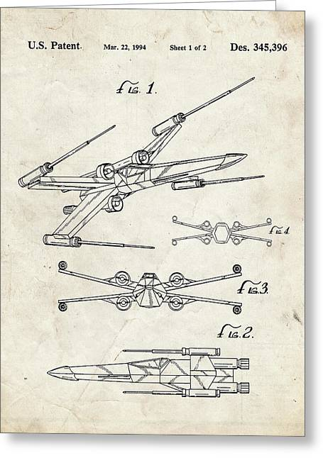 Star Wars X Wing Fighter Patent Greeting Card