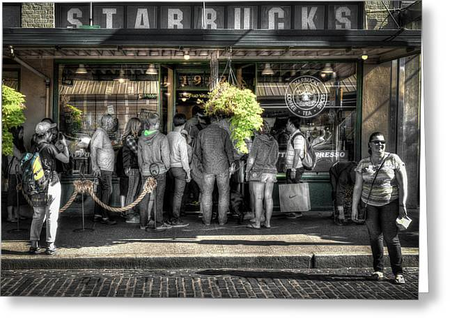 Greeting Card featuring the photograph Starbucks At The Market by Spencer McDonald