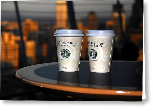 Seattle Landmarks Greeting Cards - Starbucks at the Top Greeting Card by David Lee Thompson