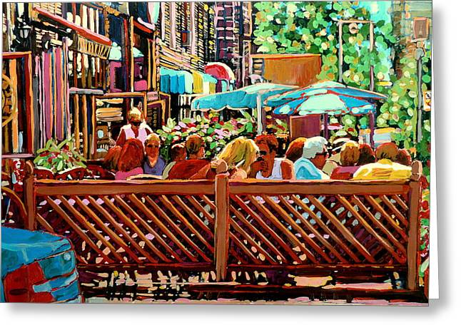 Starbucks Cafe On Monkland Montreal Cityscene Greeting Card by Carole Spandau