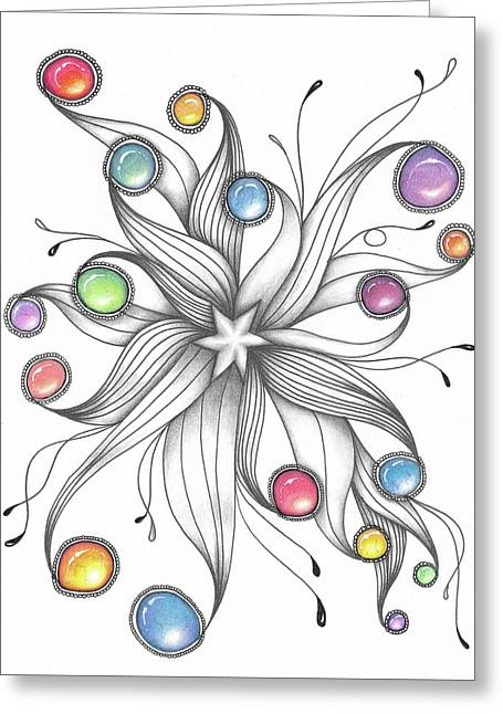 Greeting Card featuring the drawing Starburst by Jan Steinle