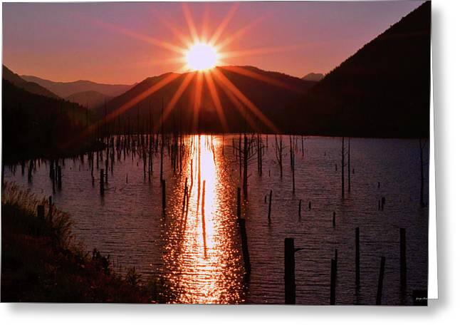 Starburst Sunrise - Earthquake Lake 005 Greeting Card