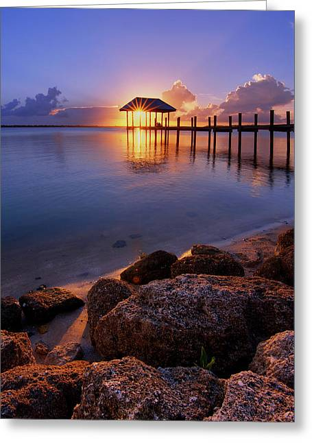 Greeting Card featuring the photograph Starburst Sunset Over House Of Refuge Pier In Hutchinson Island At Jensen Beach, Fla by Justin Kelefas