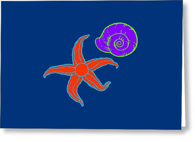 Greeting Card featuring the digital art Starfish And Shell by Jennifer Hotai