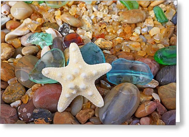 Starfish Art Prints Star Fish Seaglass Sea Glass Greeting Card by Baslee Troutman Art Prints
