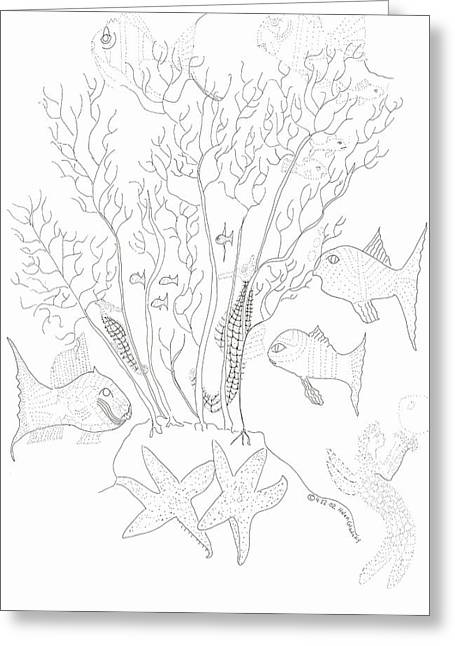Starfish Dance And Fish Camouflage Greeting Card