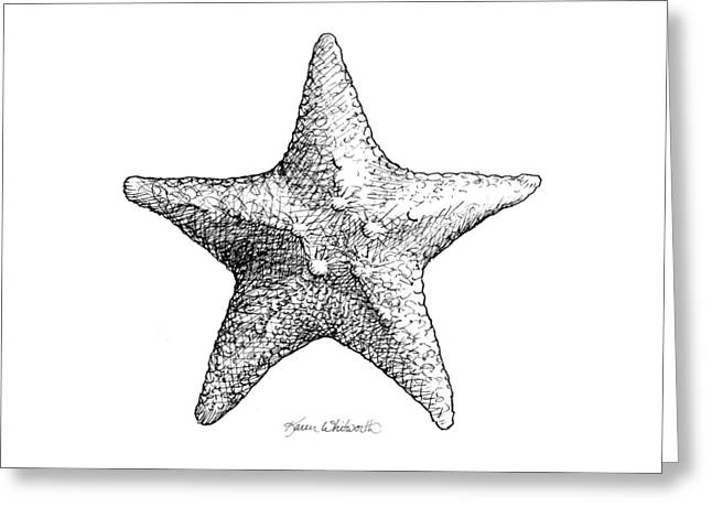 Greeting Card featuring the drawing Starfish Drawing Black And White Sea Star by Karen Whitworth